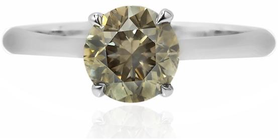 Leibish & Co. 2.01 carat Fancy Dark Greenish Grey Solitaire Diamond Ring