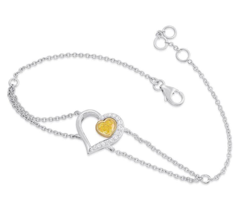 Fancy Intense Yellow Diamond, Heart Pave Bracelet (0.38Ct TW) SKU:   340628