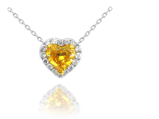 Leibish & Co. yellow heart shaped diamond halo pendant