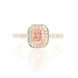 1.02 Carat, Fancy Light Pink Pave Mill-grain halo ring, Radiant, SI2