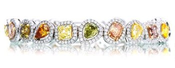13.42 Carat, Fancy Intense Color Diamond Collage Halo Bracelet, Mix