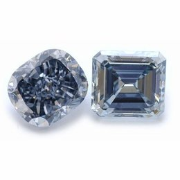 3+ Carat Fancy Greyish Blue Cushion Together with 2+ Carat Fancy Grayish Blue Emerald