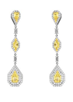 4.39 Carat, Fancy Light Yellow Marquise, Pear and Kite Diamond Drop Earrings