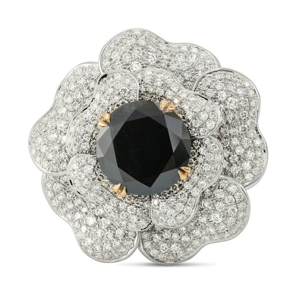 3.21 Carat, Fancy Light Pinkish Brown Flower Ring
