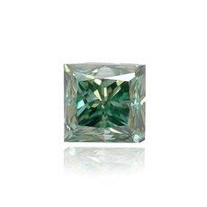 0.19 Carat, Fancy Deep Bluish Green Diamond, Princess, VS2