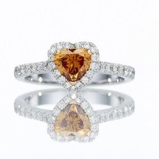 0.70 Carat, Fancy Deep Yellowish Orange Heart Diamond Engagement Ring