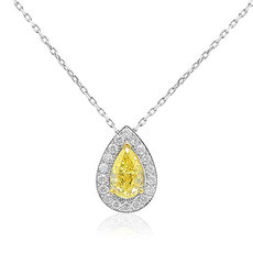 0.70 Carat, Fancy Yellow Pear Shape Diamond Halo Pendant, Pear, SI1