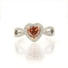 0.75 Carat, Fancy Deep Pinkish Brown, Heart