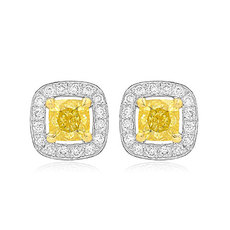 0.76 Carat, Fancy Intense Yellow Cushion Diamond Halo Earrings, Cushion, VS-SI