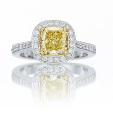 1.08 Carat, Fancy Yellow Internally Flawless Cushion Diamond Halo Ring, Cushion, IF