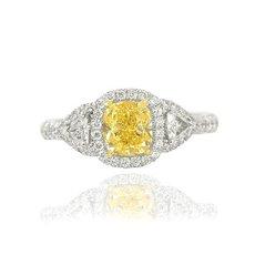 1.11 Carat, Fancy Yellow, Cushion-cut Diamond Ring