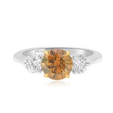 1.29 Carat, Fancy Brown Round Brilliant Three Stone Ring, Round, VS2