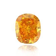 1.44 Carat, Fancy Vivid Yellowish Orange Diamond, Cushion