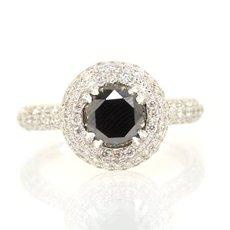 1.59 Carat, Round, Black Diamond Ring