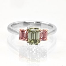 1.62 Carat, A Green and Brownish Pink Emerald Diamond 3 Stone Ring, Emerald