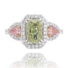 1.65 Carat, Fancy Light Yellowish Green Radiant & Fancy Intense Purplish Pink Pear Diamond Designer Ring, Radiant, SI1
