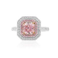 1.71 Carat, Fancy Purplish Pink Radiant Diamond Couture Halo Ring, Radiant, VS2