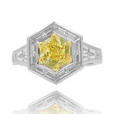 1.74 Carat, Fancy Yellow Hexagonal Diamond Ring, Hexagonal, SI1