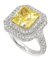 5.41 ct Fancy Light Yellow Radiant Diamond Double Halo Ring