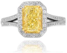 Halo-Diamantring mit Stein im Radiantschliff in Fancy Yellow mit 1,51 Karat