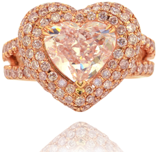 3.57 ct Light Pink Heart Shaped Diamond and Double Heart Shaped Halo Rose Gold Ring