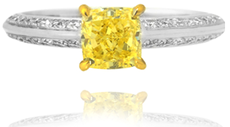 1.00 Carat Fancy Intense Yellow Radiant Diamond Pave Side Stone White Gold Ring With Yellow Gold Setting