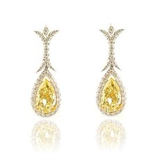 2.04 Carat, Fancy Light Yellow Halo Drop Earrings, Pear