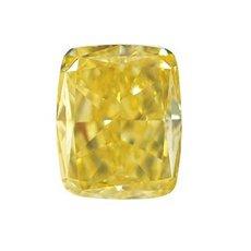 2.37 Carat, Fancy Intense Yellow Diamond, Cushion, IF