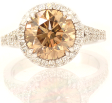 3.06 ct Fancy Light Yellow Brown Round Brilliant Halo Ring