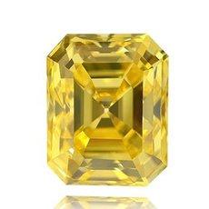 3.01 Carat, Fancy Vivid Yellow Diamond, Emerald, IF