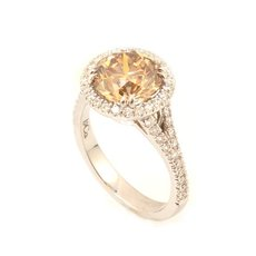 3.06 Carat, Fancy Light Yellow Brown Round Brilliant Halo Ring, Round, VS2