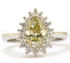 1.31 ct Fancy Grayish Greenish Yellow Pear Shaped Diamond Ring