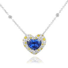 5.55 Carat, Heart Tanzanite White and Fancy Vivid Yellow Diamond Pendant