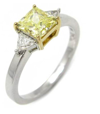 0.85 ct Fancy Yellow VS1 Princess Cut Diamond Ring with Trilliant Cut Sidestones