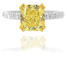 2.85 ct Fancy Yellow Cushion Cut Diamond Pave Side Stone Ring