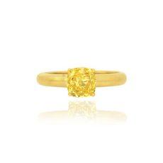 cushion shape yellow diamond yellow gold solitaire engagement ring