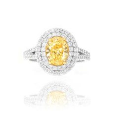double halo split shank yellow oval shape diamond engagement ring