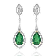 Emerald pears, chandelier drop earrings