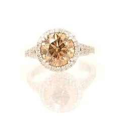 halo split shank champagne round shape white diamond engagement ring
