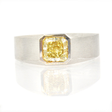 men diamond ring set with fancy yellow radiant