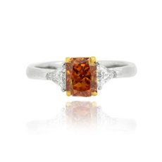 orange diamond accent triangle diamond engagement ring