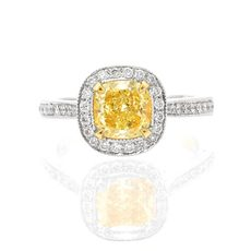 yellow cushion shape milgrain halo diamond engagement ring
