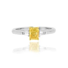 Yellow diamond accent taper diamond engagement  ring