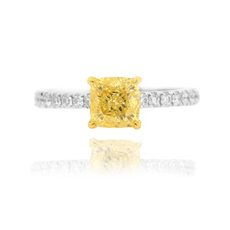 yellow diamond solitaire pave engagement ring