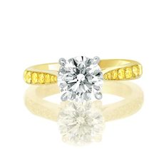 Yellow diamonds solitaire pave diamond engagement ring