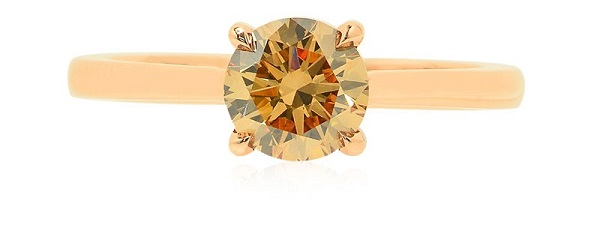 1.00Ct Fancy Brownish Yellow Solitaire Diamond Ring