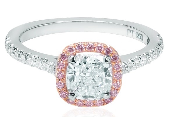 Colorless diamond ring with a pink diamond halo and a half eternity shank