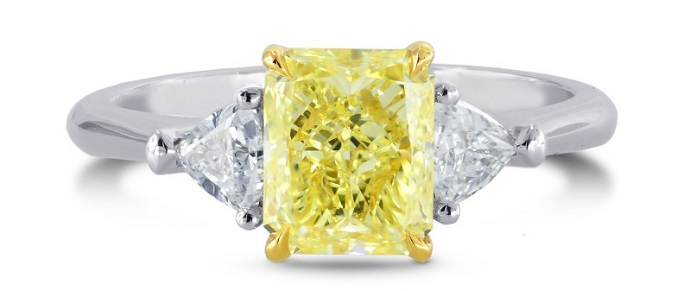 Platinum Fancy Yellow Radiant & Triangle Diamond Ring, SKU 1315R (1.25Ct TW)