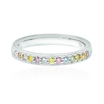 Lilies Collection- Multicolor Diamond Milgrain Band Ring