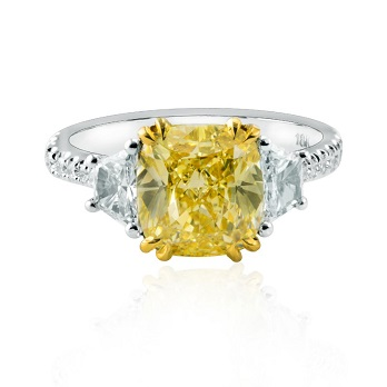 Fancy Yellow Cushion Diamond Ring with Trapezoids